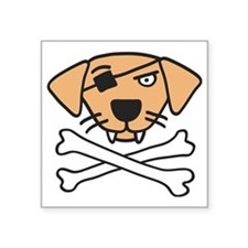 "pirate dog and bones Square Sticker 3"" x 3"""
