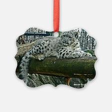 Snow Leopard Cub on Log Ornament