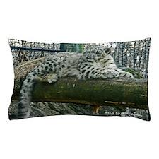 Snow Leopard Cub on Log Pillow Case