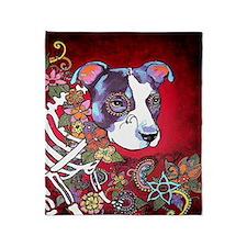 DiaLos Muertos dog Throw Blanket