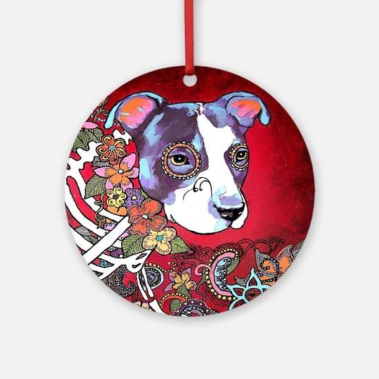 DiaLos Muertos dog Round Ornament