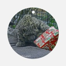 Snow Leopard and Present Round Ornament