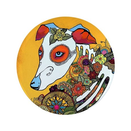 """Dia Los Muertos, day of the dead, dog, 3.5"""" Button"""