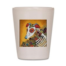 Dia Los Muertos, day of the dead, dog, Shot Glass