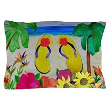 Flowers and Flip Flops Pillow Case