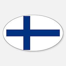 Finland/Suomi Flag Sticker (Oval)