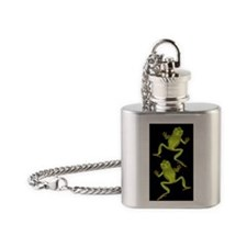 Green Tree Frogs Flask Necklace