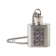 Golden Fleur de Lis Flask Necklace