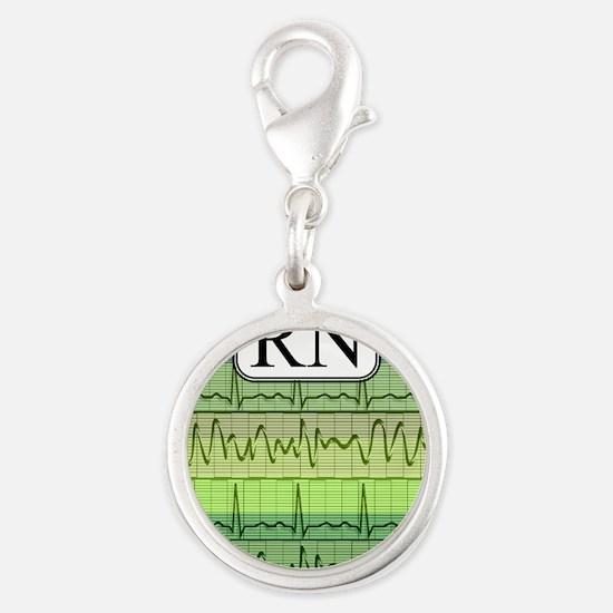 RN case green Silver Round Charm