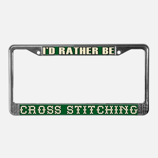 Cross Stitch License Plate Frame