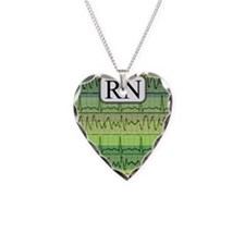 RN case green Necklace Heart Charm