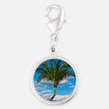 Florida Palm Silver Round Charm