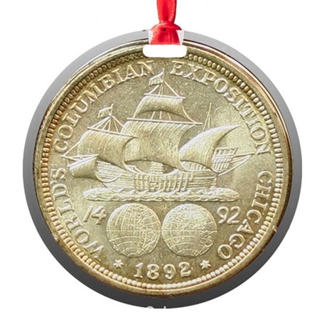 Worlds Columbian Exposition Half Do Round Ornament