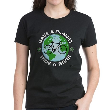 Save a Planet, Ride a Bike Women's Dark T-Shirt