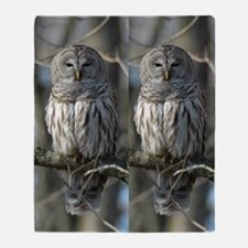 Wild Barred Owl Throw Blanket