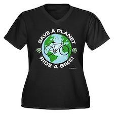 Save a Planet, Ride a Bike Women's Plus Size V-Nec