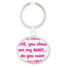 Think Im Cute - Aunt/Uncle Oval Keychain