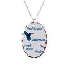 Well-behaved Hummingbird Necklace Oval Charm