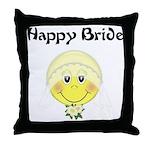 Smiley Face Bride Throw Pillow