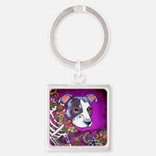 Dia los muertos dog, Pit bull Square Keychain