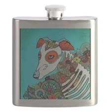 Dia Los muertos, day of the dead dog Flask