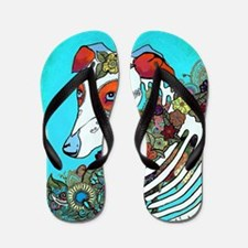 Dia Los muertos, day of the dead dog Flip Flops