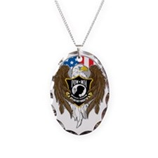 POW/MIA Eagle Necklace Oval Charm
