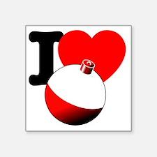 "I Heart Fishing bobber Square Sticker 3"" x 3"""