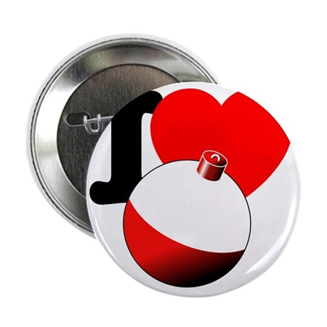 "I Heart Fishing bobber 2.25"" Button"