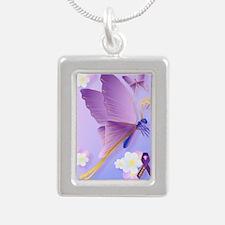 Purple Fibro Awareness Silver Portrait Necklace
