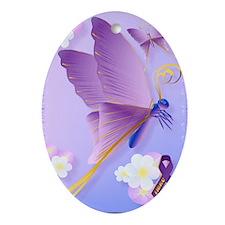 Purple Fibro Awareness Oval Ornament