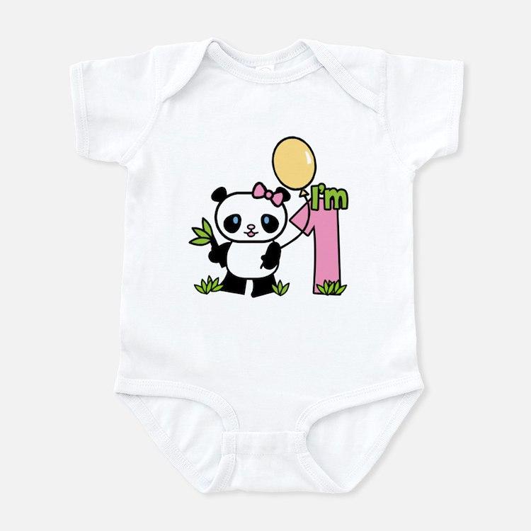 Lil' Panda Girl First Birthday Infant Bodysuit