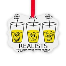 Glass Half Full Empty Pee Funny T Ornament