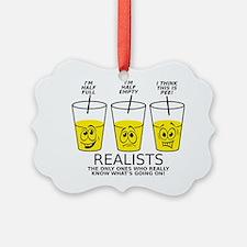 Glass Half Full Empty Pee Funny T Ornament