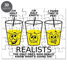 Glass Half Full Empty Pee Funny T-Shirt Puzzle