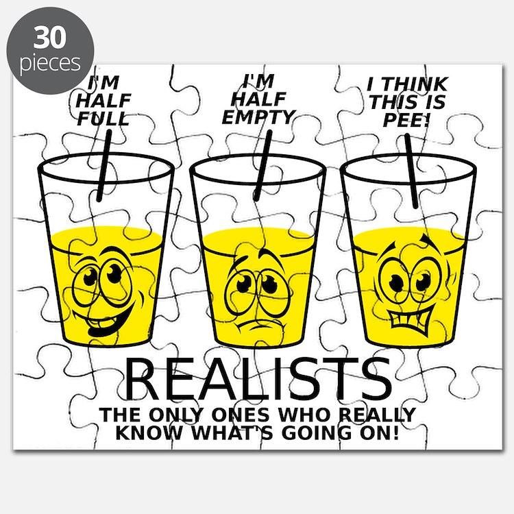 Glass Half Full Empty Pee Funny T-Shirt Puzzle
