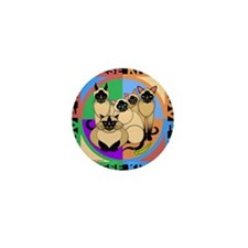 Many Siamese Kitties Cat Graphics Mini Button