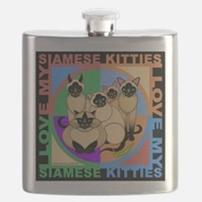 Many Siamese Kitties Cat Graphics Flask