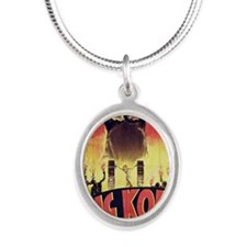 King Kong 1933 French poster Silver Oval Necklace