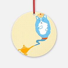 Corgi Genie Round Ornament