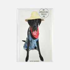 Black Lab Farmer Rectangle Magnet