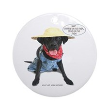 Black Lab Farmer Ornament (Round)