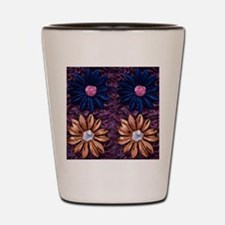Fabric Flowers on Fancy fabric backgrou Shot Glass