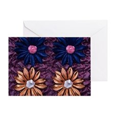 Fabric Flowers on Fancy fabric backg Greeting Card