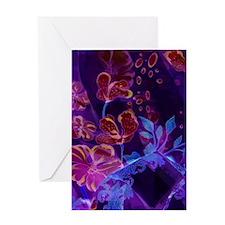 Flower Design-Blue Purple Burgundy Greeting Card