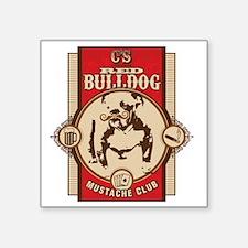 "Cheststache Red Bulldog Mus Square Sticker 3"" x 3"""