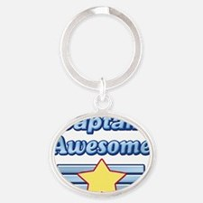 Captain Awesome2 Oval Keychain