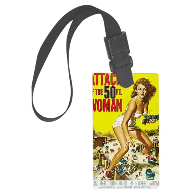 Attack of the 50 foot woman post large luggage tag by for Attack of the 50 foot woman t shirt