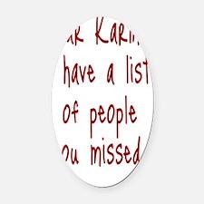 Karma List Oval Car Magnet