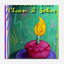 Another Year Clean and Sober Tile Coaster